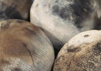 Elusive Conatainment.  Detail. Smoke Fired Stoneware. 2006