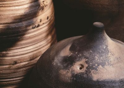 Elusive Conatainment.  Smoke Fired Stoneware.  Detail.  2006