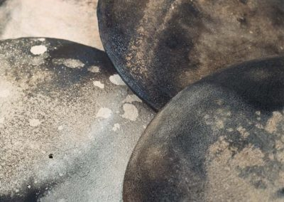 Elusive Containment.  Discs.  Detail.  Smoke Fired Stoneware.  2006