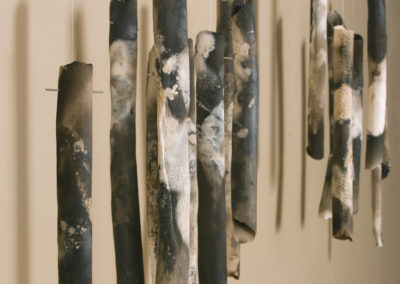 The Living Road.  Pipes.  Smoke fired stoneware.  17 components.  Arts Underground Gallery.  Whitehorse YT.  2012.