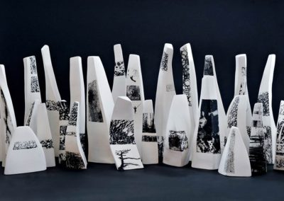 Urbanscape.  Porcelain, photo transfer.  2015.  Photo credit: Cathie Ferguson