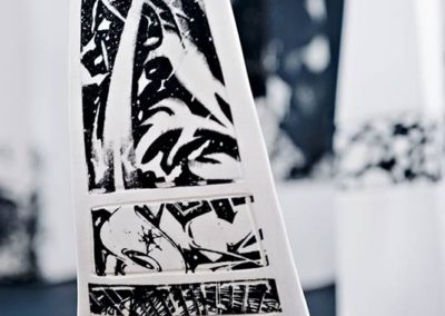 Urbanscape.  Detail.  Porcelain, photo transfer.  2015.  Photo credit: Cathie Ferguson